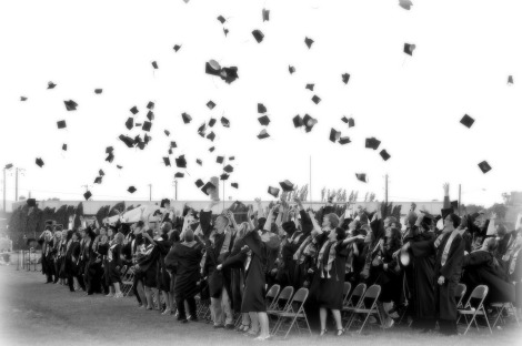 Kids graduating happily...
