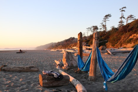 We left our first hammock spot to get front row seats to Sunset. This is what we built =D