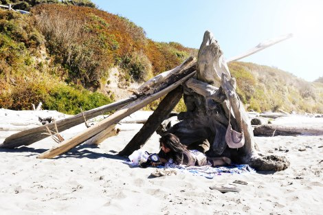 This is how Beach Bum'n in the Pacific Northwest looks like. Driftwood teepees! We built it =)